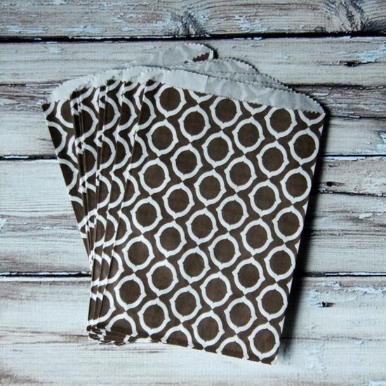 brown patterned favor bags