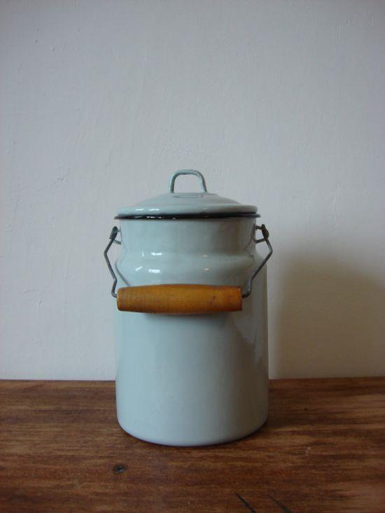 Vintage Enamel Milk Can, Milk Jug Farmhouse Rustic, Kitchen Decor, Kitchenware, Made in USSR, 1970s, Soviet Era, Soviet Times from OldMoscowVintage