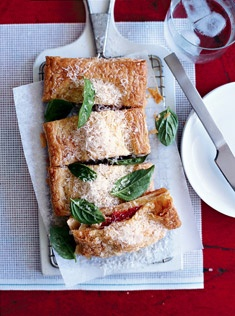smoked ham, mozzarella and artichoke pastries - picnic food