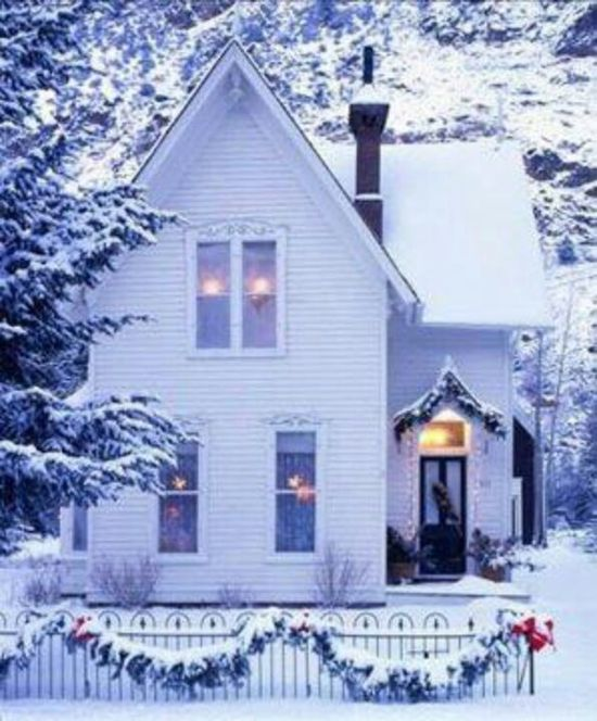 White cottage in the snow