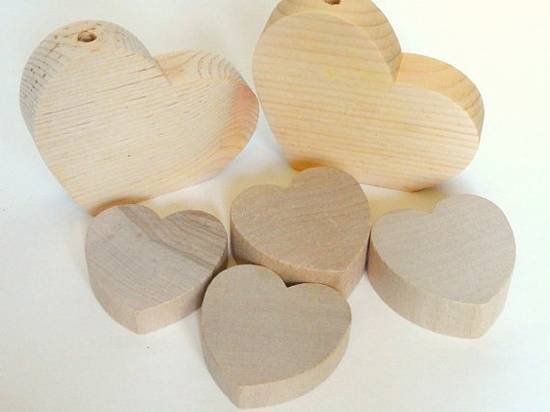 Unfinished Wood Craft Hearts Supply Destash by VikisVarietyCraft, $3.50
