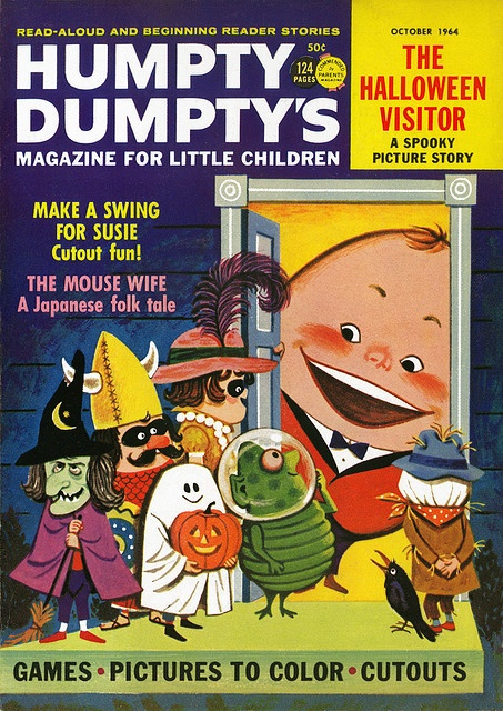 Fantastically fun 1964 Halloween themed cover of Humpty Dumpty's (children's) magazine. #Halloween #kids #costumes #magazine #cover #vintage #retro #1960s #sixties
