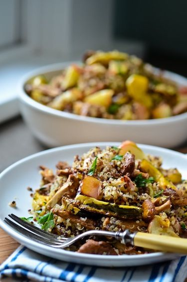 Quinoa with roasted chanterelles, apples, and squash