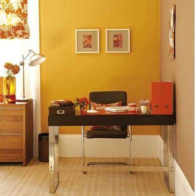 Image detail for -Bright, modern office: Orange paint + chocolate-brown accents