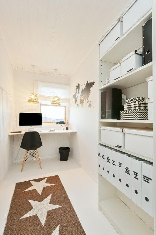 black and white office