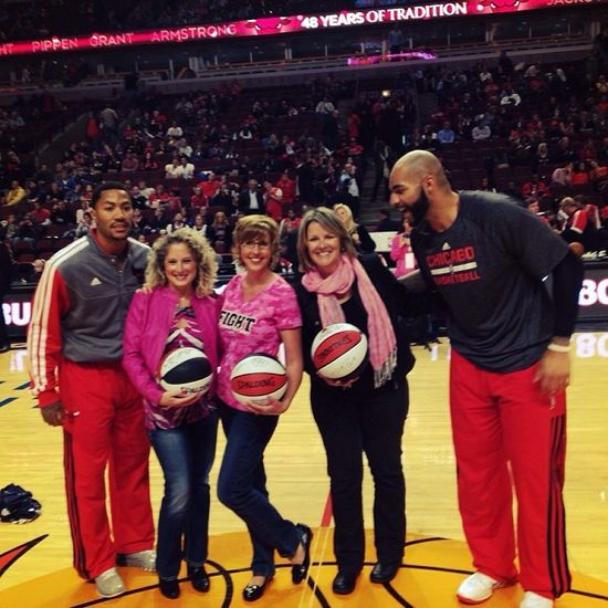 The #Bulls & Advocate Health Care honor two#Advocate breast cancer survivors. Welcome Ginger & Jamie! Help raise awareness about breast cancer. Join the conversation at StoriesOfTheGirls...