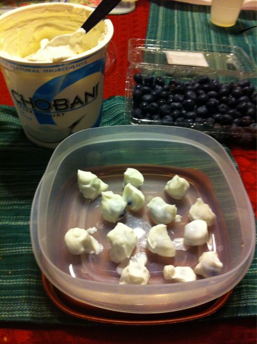 Dipping Blue Berries in Yogurt, freezing them over night for a healthy snack the next day. You could do this virtually with any type of fruit!