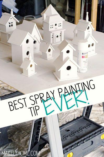 Best Spray Painting Tip EVER! via MakelyHome.com