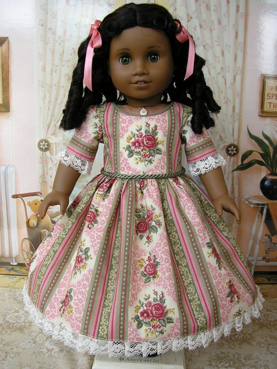 American Girl  mid-1800s floral stripe gown with pleated lace. $64.00, via Etsy.