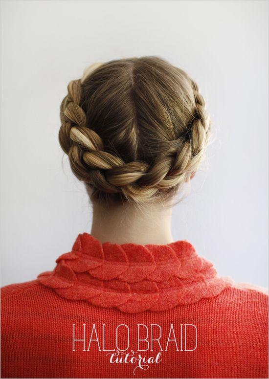 #hair how to halo braid    www.weddingchicks...