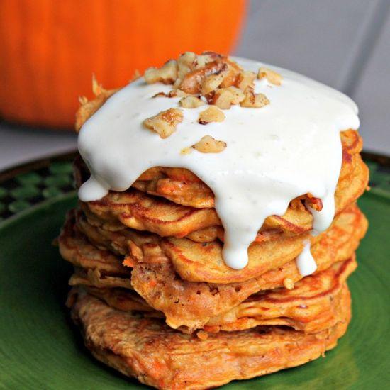 Carrot Cake Pancakes With Cream Cheese Glaze