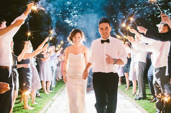 Romantic wedding exit