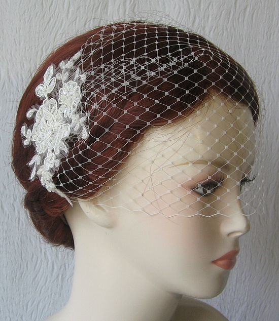 Ivory Birdcage Veil and Lace Bridal Fascinator, Vintage Style Bandeau Birdcage Wedding Veil and Lace Hair Clip - KAYLA. $66.00, via Etsy.