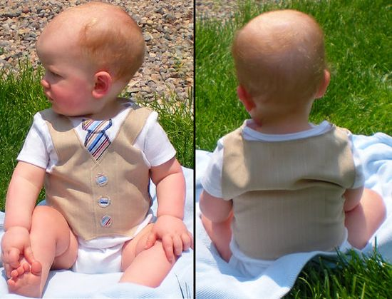 Tie and Pinstripe Vest Onesie - with Vest on back - Boutique Baby Boy Clothes