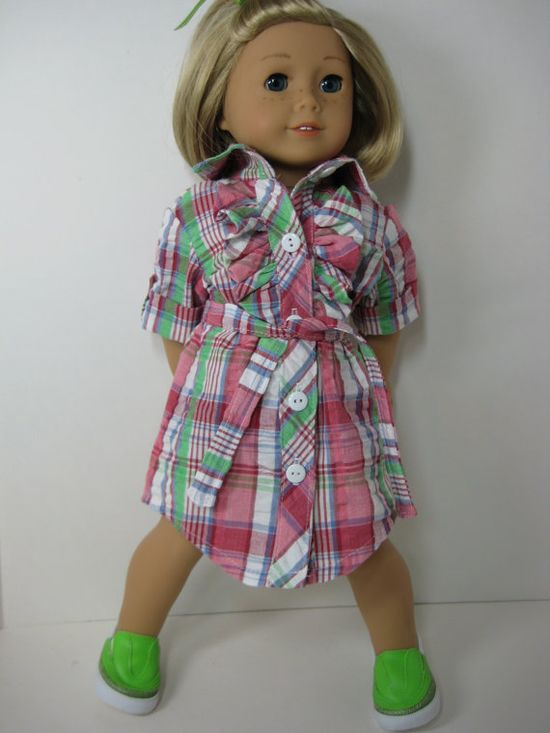 18 Doll Clothes American Girl Plaid Button Down by nayasdesigns, $28.00