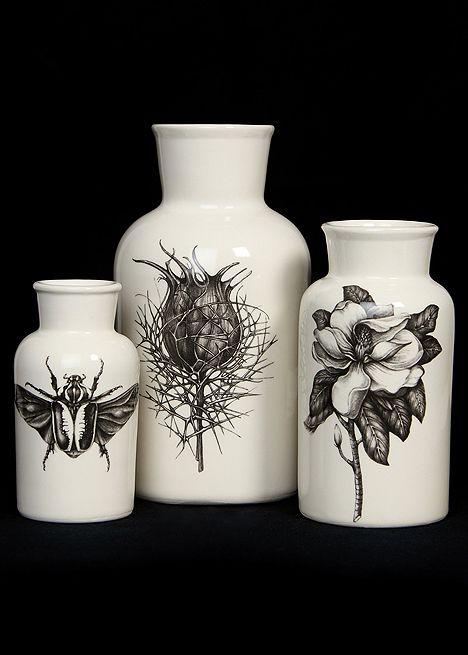 Botanical vase set by Laura Zindel.
