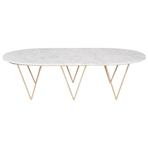 Worlds Away Surf Gold Leafed Coffee Table White Marble Top