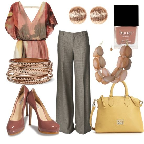 Beautiful way to show off rose gold - chic work outfit