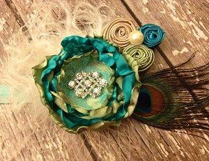Ocean Blue and Sage Handmade Flower