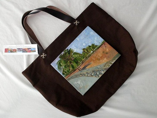 Miami Beach Ocean Drive Tote in Brown and Leather Hand by artbymsr, $65.00  LOVE this tote!
