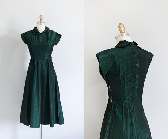 1940s Green Dress by strawberrykoi on Etsy