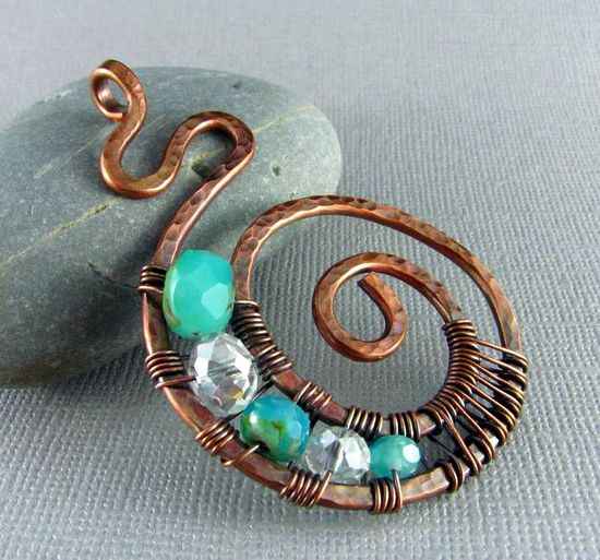 Wire Wrapped Pendant Handmade Art Jewelry Wire Wrapped Jewelry Copper Pendant Nautilus.