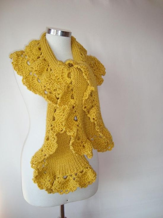 Scarf with Crochet Lace