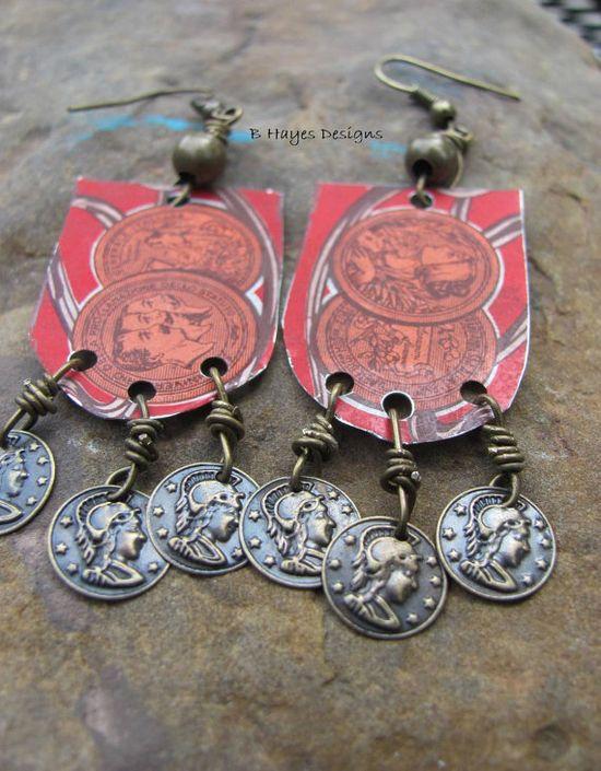 Vintage Tin Earrings by brendalou2 on Etsy, $15.00