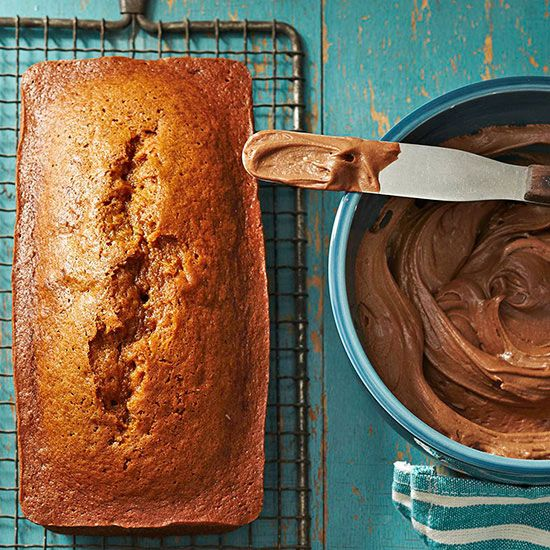 This pumpkin bread with cocoa-spice frosting makes the perfect fall snack. More pumpkin recipes: www.bhg.com/...