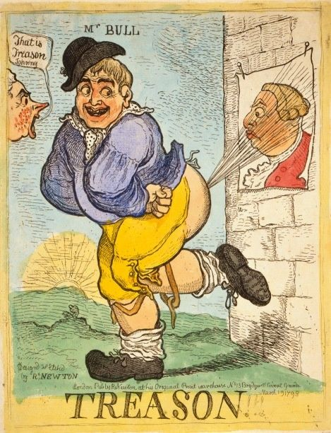 I don't know if anyone else knows this apart from myself and my bottom-obsessed family, but farts are funny and this cartoon by Richard Newton certainly illustrates that point! Although, as I am rather fond of George III, I am a little upset that John Bull has opted to f... in his face. I would choose his preposterous son, George IV myself, although that perverted old fart would probably have liked it!