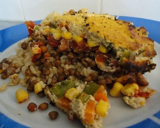 Veggie & Rice Bake with Cauli-Sauce Topping from Vegans Eat Yummy Food Too. #vegan