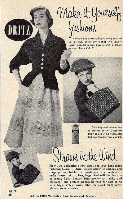 Dritz Make-It-Yourself Fashions, 1955. #vintage #1950s #fashion #dress #accessories