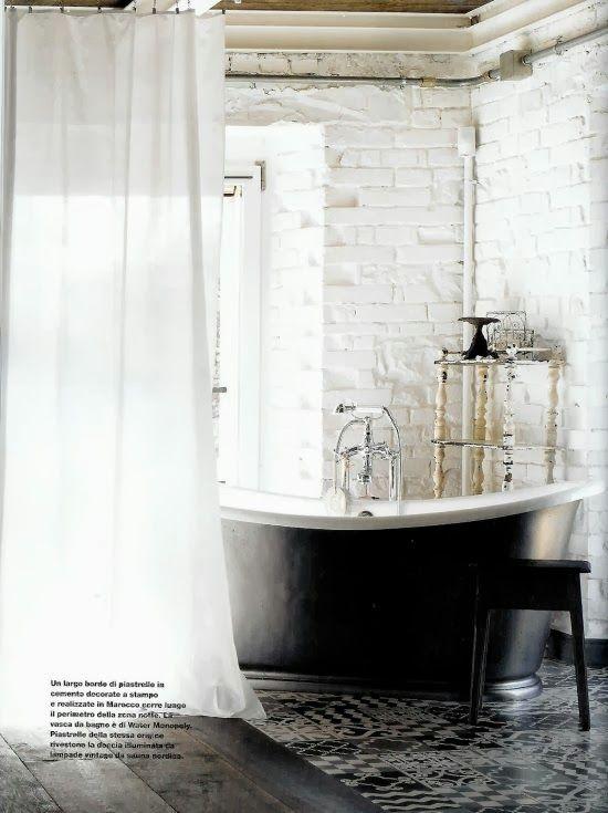 #interior #decor #styling #industrial #rustic #vintage #bathroom #tiles #black