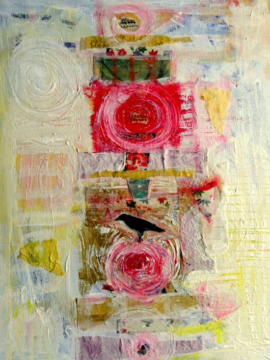 Positivity abstract expressionist  original mixed media painting via Etsy