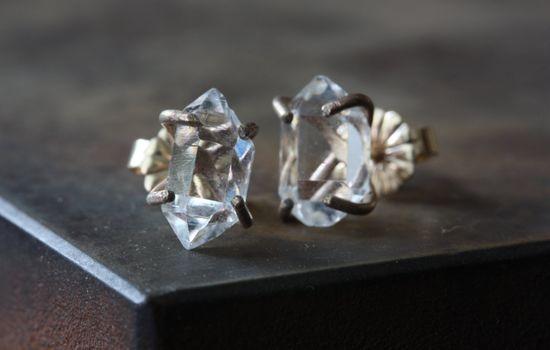 Herkimer Diamond Earrings- 14kt gold