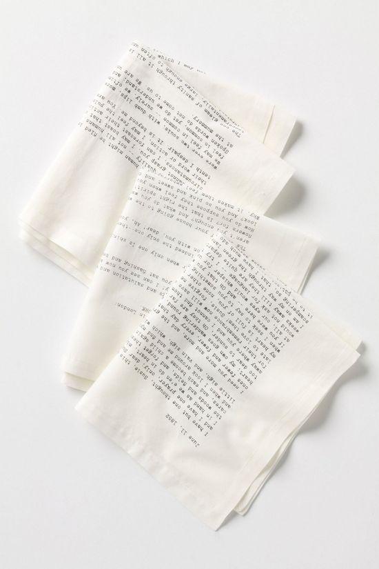 Literary Correspondence Napkin Set.  So whimsical! #AnthroFave