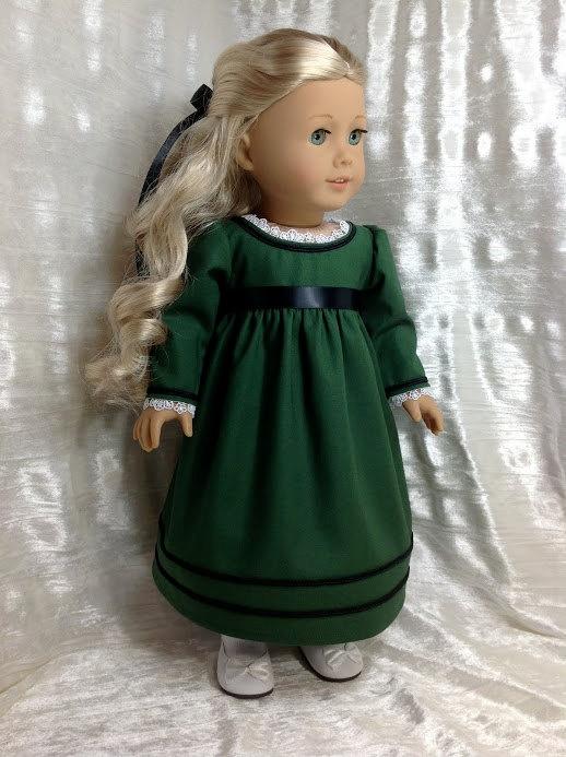 Caroline's green dress. RESERVED $69.00, DollSizeDesigns via Etsy.