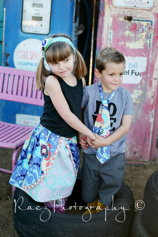 Peekaboo skirt with matching boys tie www.littlewellies...