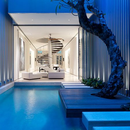 A pool that goes inside the house too