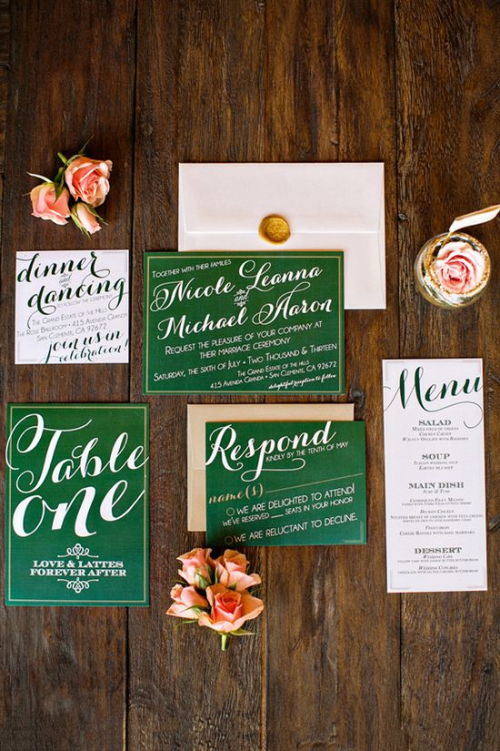 Green #Invitations #wedding #pinkbowtie