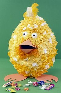 Chucky the Chick Pinata by bhg.com: Made from a balloon and papier-mache and filled with candy. #Pinata #Easter #Kids #bhg