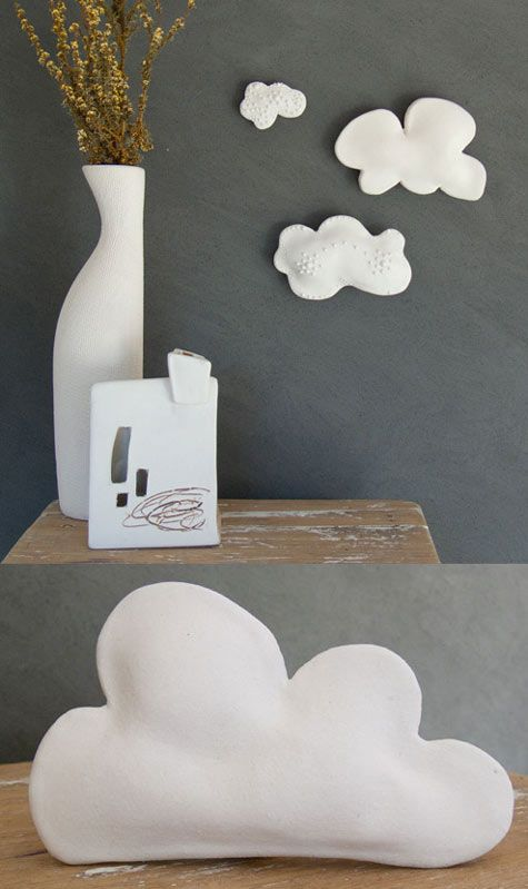 Felt Cloud wall pillows - would make cute throw pillows too!