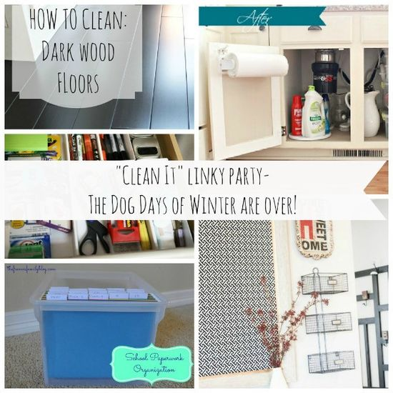 """""""Clean it"""" linky party.. Amazing cleaning tips and tricks all on one post & if you have a blog post about cleaning or organzing you can link it  up and show it off too! Great inspiration for spring cleaning all on one post!"""