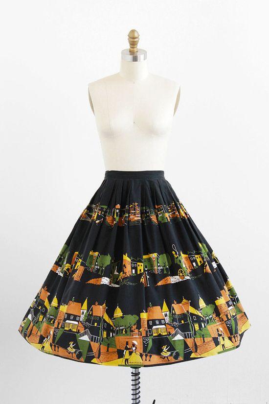 vintage 1950s colonial Boston novelty print circle skirt