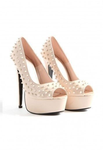 Janae Spiked Peep Toe Heels  www.missguided.co... x #prom #girls #fashion #shoes #spikes #nude #promqueen #missguided #style #competition #win