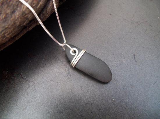 Sea glass jewelry  Beach stone necklace