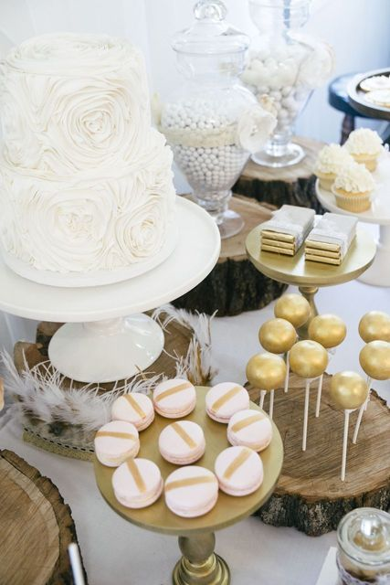 Cake and treats at a Wedding Reception #wedding #desserttable