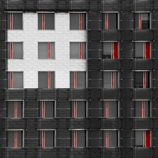 GREY AND RED FACADE