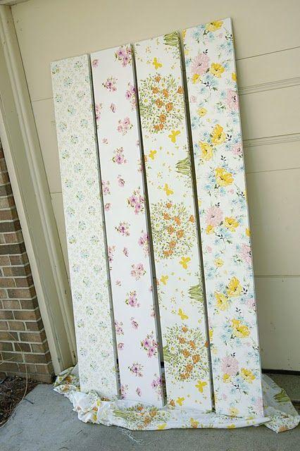 DIY: shelves covered in vintage sheets