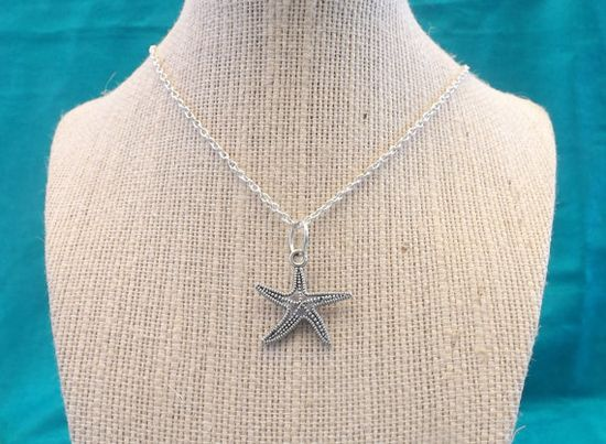 Silver tone Starfish Necklace by TheGreenEyedTurtle on Etsy, $8.00